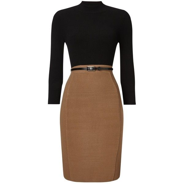 Phase Eight Abbey Belted Dress, Black/Camel ($120) ❤ liked on Polyvore featuring dresses, midi dress, long-sleeve maxi dresses, mini dress, long sleeve pencil dress and high neck maxi dress