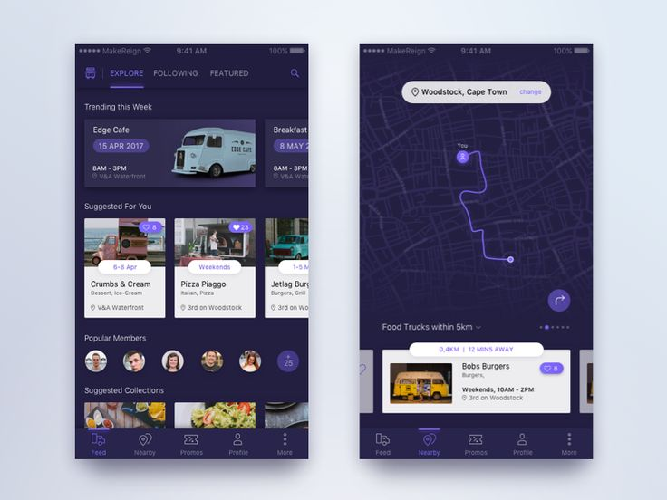 Here's some initial design explorations for a Food Truck Discovery App focused on making it easy to find and follow popular food trucks within your location. I've also explored light and dark ui t...