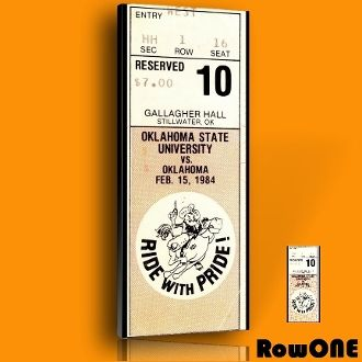 1984 Oklahoma State Cowboys Basketball Ticket Art, college basketball art, vintage ticket art, Row One Brand, sports art, basketball art