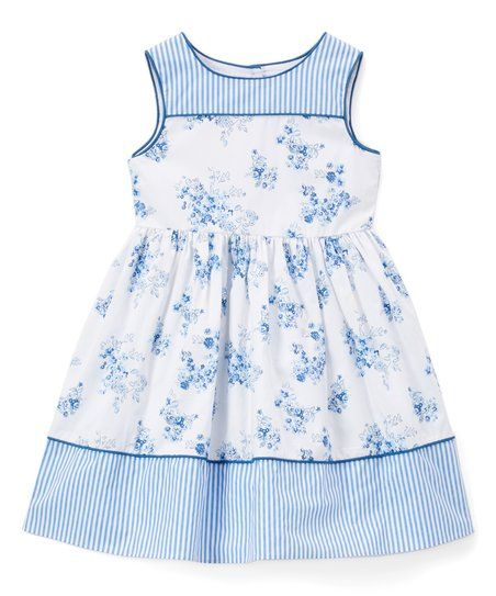 A contrasting stripe trim lends playful appeal to this supersoft cotton floral sleeveless dress. Note: Only infant sizes include diaper covers.