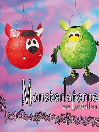 Kugelige Monsterlaterne mit Luftabllons und Papmaschee gebastelt #Halloween