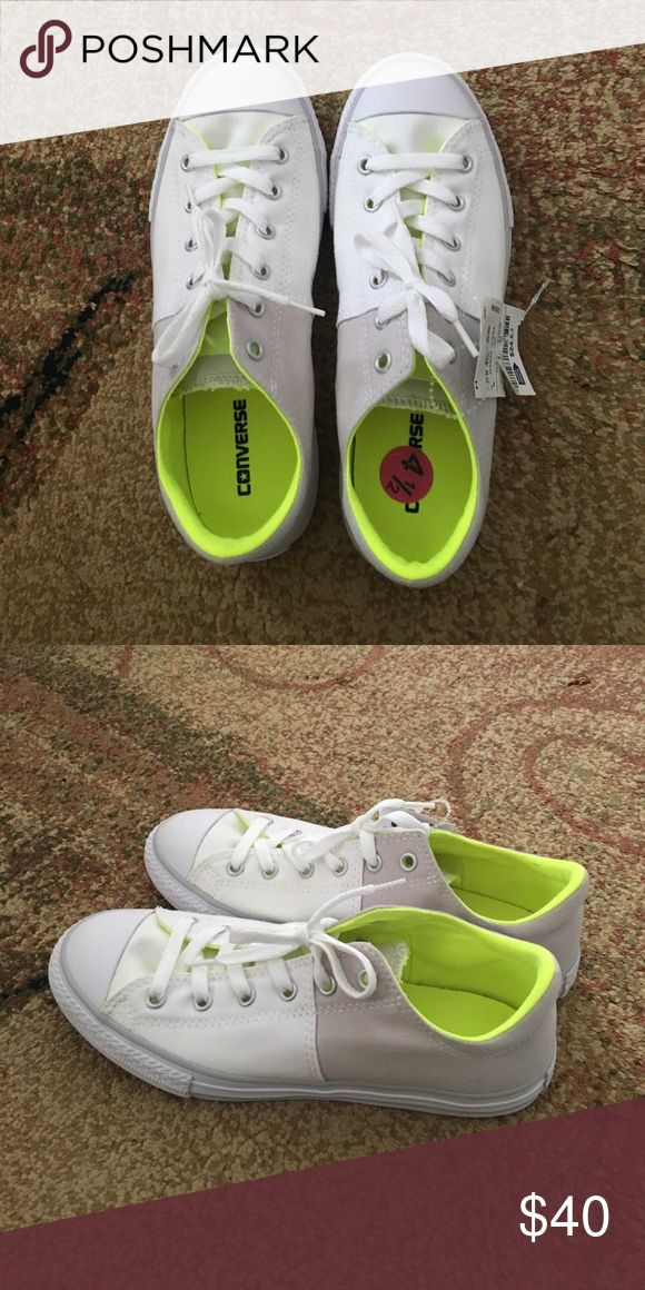 White with neon Converse Brand new but no box , fits girls 4.5 or women 7. Converse Shoes Sneakers