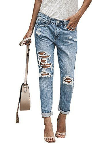 2af50ec6388 New Liyuandian Liyuandian Womens Ripped Boyfriend Jeans Distressed Jeans  Destroyed Blue Denim Pants Women s Fashion Clothing online.