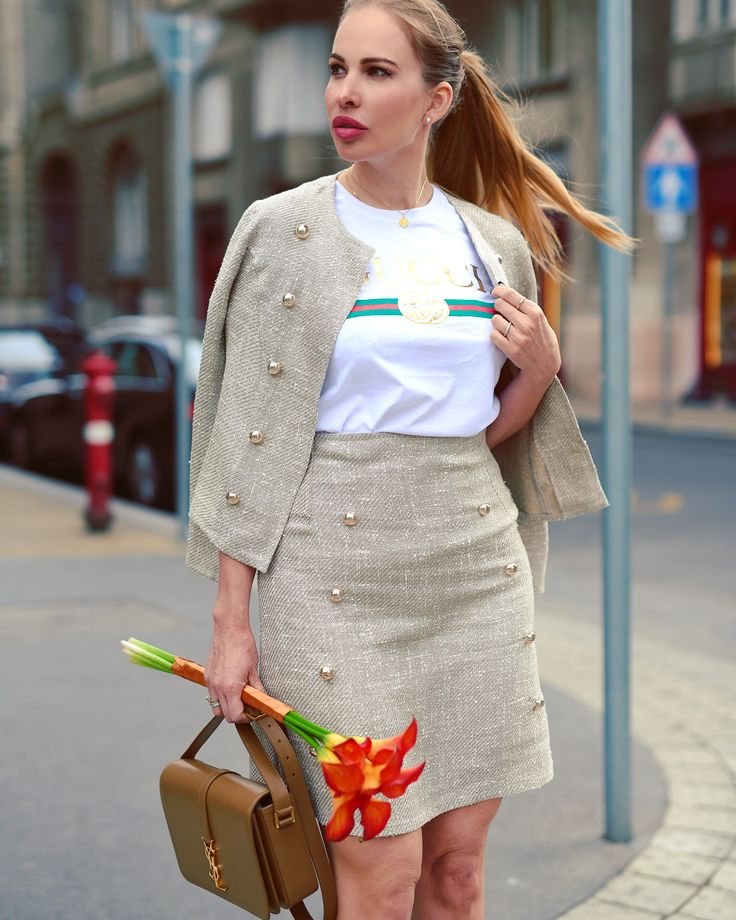 Gold button blazer and skirt