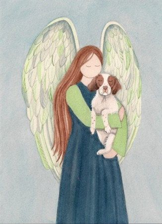 Angel with brittany spaniel. For all my britts at the Rainbow Bridge. I know an angel took you in her arms as I said good bye to each if you. I love you Fergie, Amber, Dolly, and Arthur. Until we meet at the Rainbow Bridge. Xoxo Mom