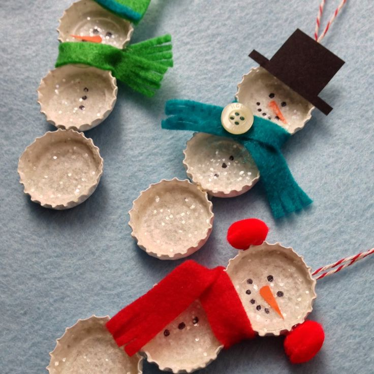 Bundled Bottle Cap Snowmen