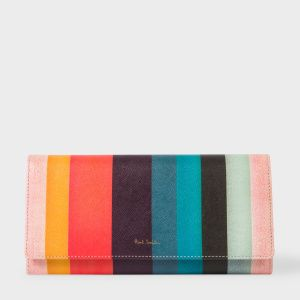 Paul Smith Women's 'Artist Stripe' Print Leather Tri-Fold Purse