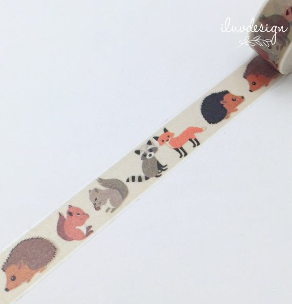 Woodland Washi Tape Squirrel Decorative Tape Fox by iluvdesign