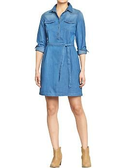 Owned.  Women's Denim Tie-Belt Dresses | Old Navy