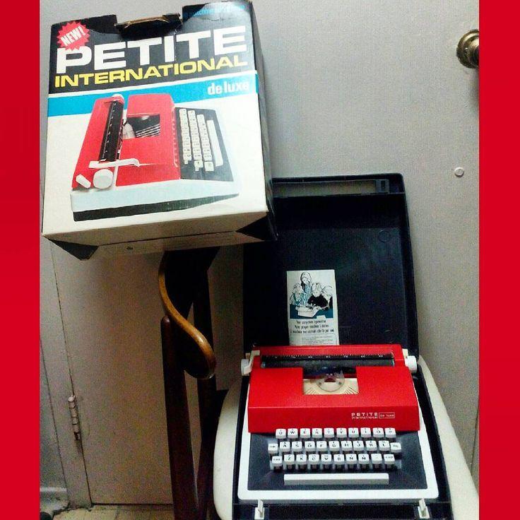 #70s Petite International #vintage #red #typewriter with carrying case, box and instructions.  #1970s #vintagetypewriter #analog #analogforever #vintagedecor #retro  #niagarafleamarket #stcatharines