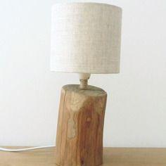 Petite lampe bois flotté - abat-jour rond lin - modèle unique
