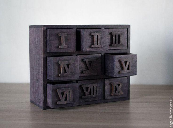 Купить Девять. Миникомод - миникомод, хай тек, винтаж, дерево, комод, ящик для, римские цифры