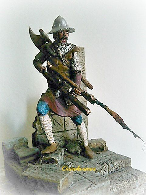 Byzantine warrior of recent years with a fire thrower. Model in scale (54mm).