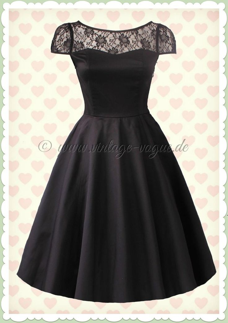 Hearts & Roses 40er Jahre Retro Spitzen Petticoat Kleid - Mesh - Schwarz