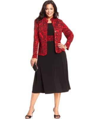 Jessica howard plus size dress and jacket sleeveless for Plus size midi dresses for weddings