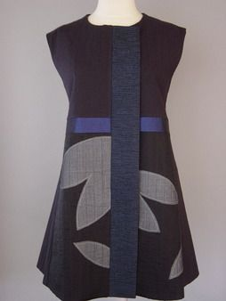 Princess Line Vest with Abstract Flowers and Navy Accent - Philadelphia Museum of Art Craft collection