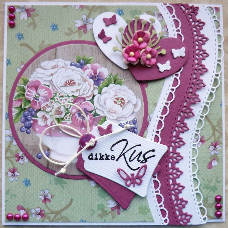 Handmade card by DT member Hanny with Creatables Border Set (Wave) (LR0395), Craftables Heart - Basic Shape (CR1351), Labels - Basic Shape (CR1352) and Punch Die - Butterflies (CR1354) from Marianne Design