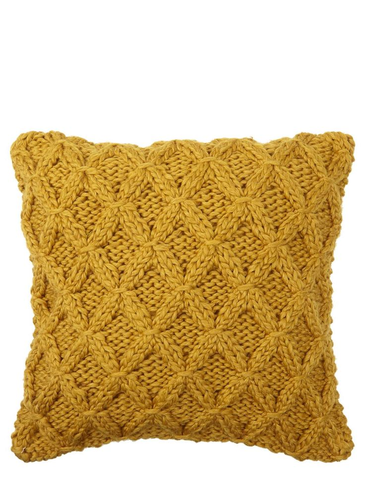Mustard Chunky Diamond Knitted Cushion - BHS