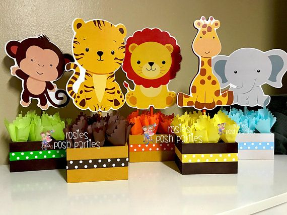 Jungle Baby Shower Centerpiece Baby Shower Party Decoration Baby Shower Jungle First Birthday Giraffe Elephant Monkey Safari SET OF 5