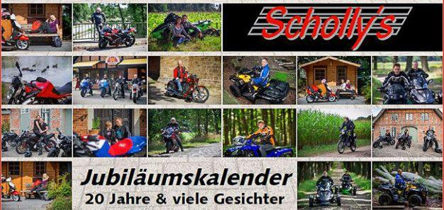 Jubiläumskalender: 20 Jahre Schollys 20 Jahre haben viele Gesichter – ein guter Grund für das Team von Schollys, im Jubiläumskalender 2014 die Kunden zu portraitieren http://www.atv-quad-magazin.com/aktuell/jubilaumskalender-20-jahre-schollys/