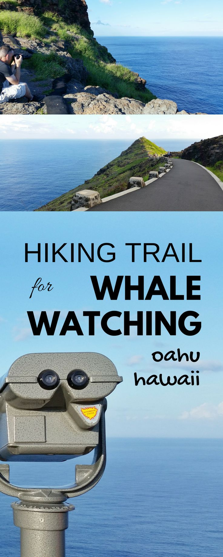 Best spot for whale watching in Oahu. Activities, hiking trail alternative to whale watching tours in Oahu. Lots of hikes on Oahu, do this one if Hawaii vacation is during best time for whale season! Things to do nearby beaches, snorkeling! Make a trip to this spot from Waikiki, Honolulu as an outdoor travel destination for bucket list budget adventures! It's free! Put binoculars on the checklist of what to pack for Hawaii packing list! Maui activities best to see whales. #hawaii #oahu