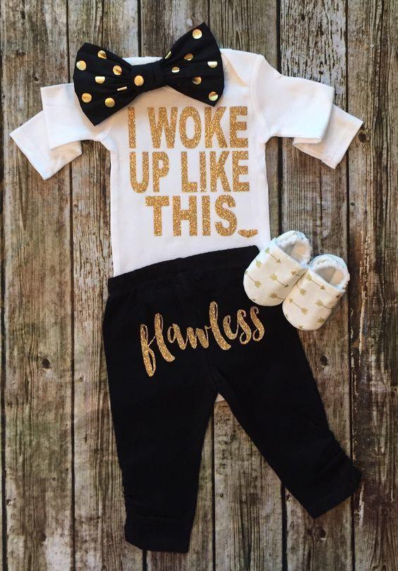 I Woke Up Like This Baby Girl Pants and Onesie Set - BellaPiccoli