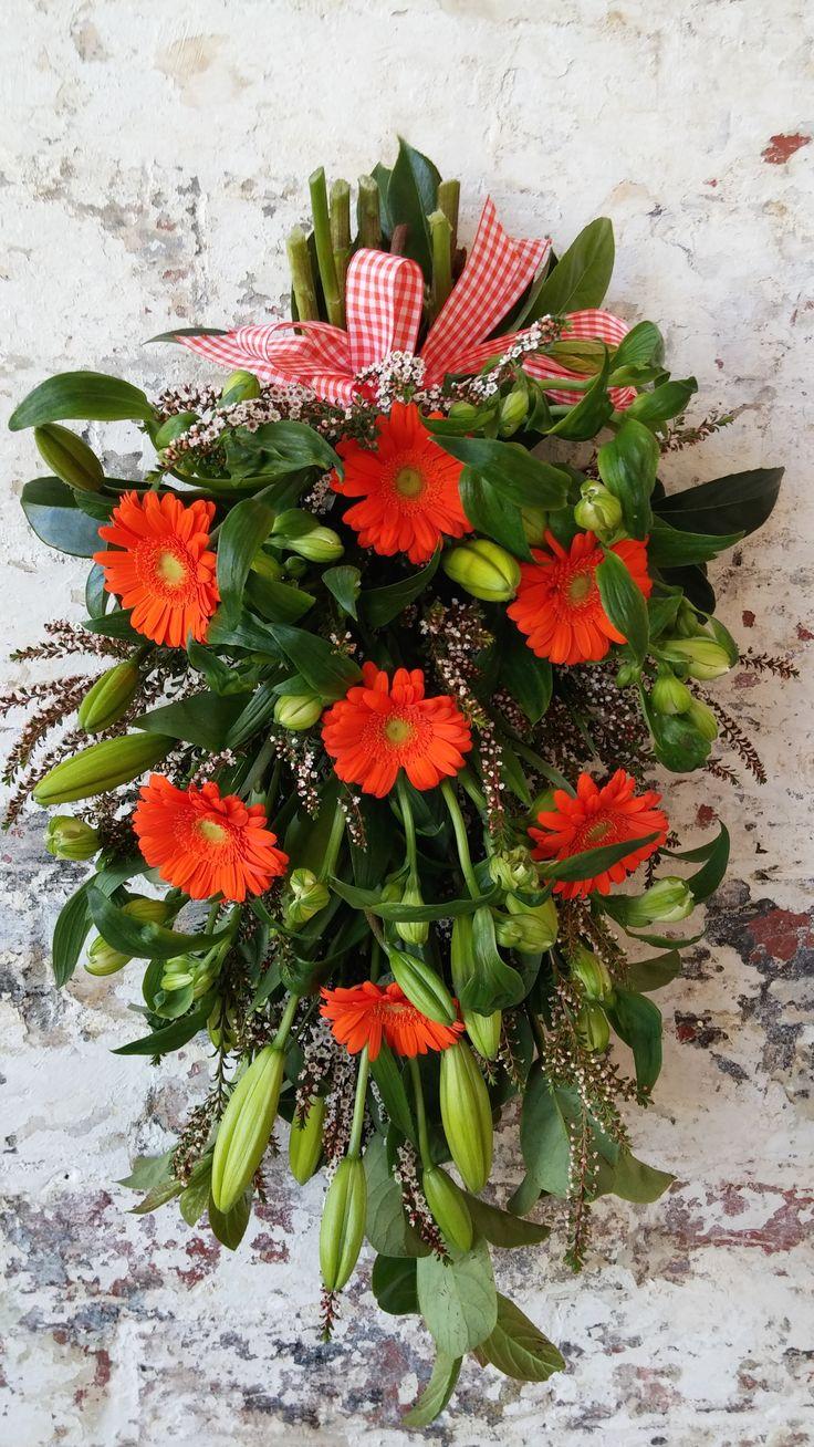 SHEAF arrangement featuring lilies, thryptomene and gerberas.