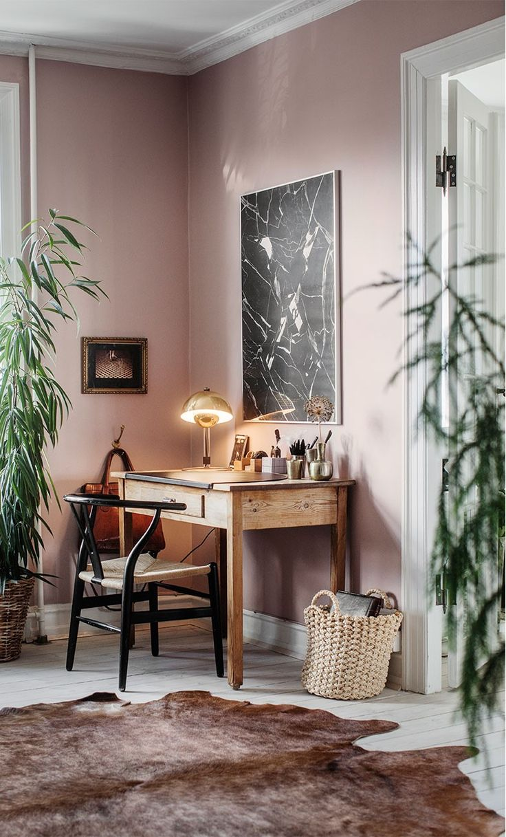 Pink Walls And Plants In The Home Work Space Of The Norrmans Lina Oestling And Mari Strengheilm