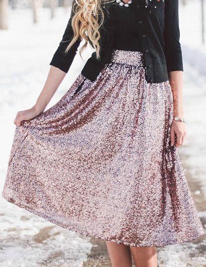 Sequin High Waist Flared Fashion Middle Skirt                                                                                                                                                                                 Más