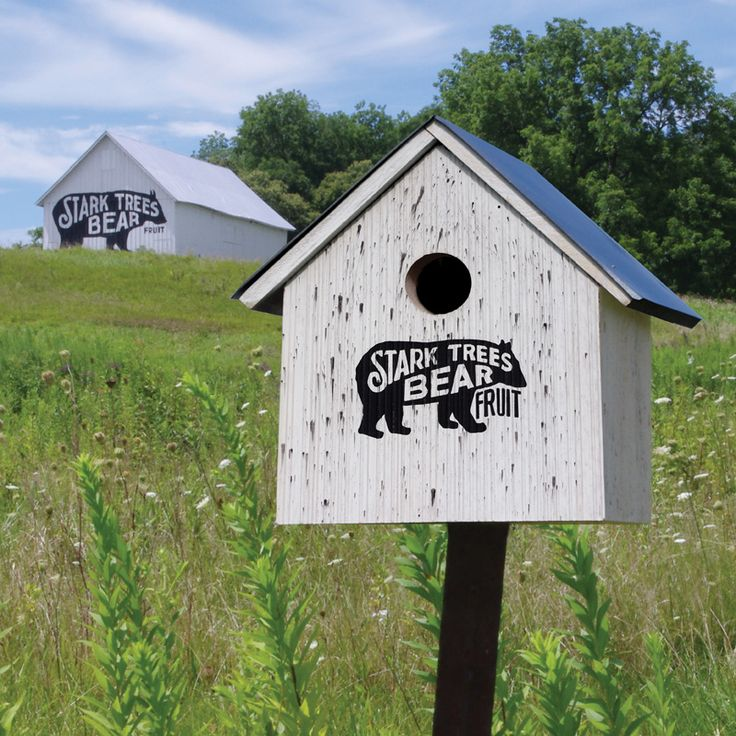 "Stark Bro's Bear Barn Birdhouse | #starkbros #exclusive ""Modeled after the Stark Bro's Bear Barn, which was illustrated with its famous black bear and the slogan ""Stark Trees Bear Fruit"" in the early 1900s. This rustic replica has a rot- and pest-resistant cedar body with a galvanized steel roof to protect your feathered friends."" A conversation-piece worth tweeting about!"