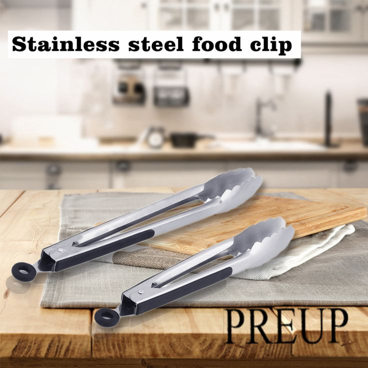 2Pcs/Set 9 inch+12 inch Non-Slip Stainless Steel BBQ Tongs Salad Bread Clamp Kitchen Meat Food Clip Barbecue Tools