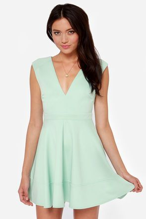 Sike, I choose this one! I love the neckline, and fit & flare  Love is in the Flare Light Blue Skater Dress at LuLus.com!