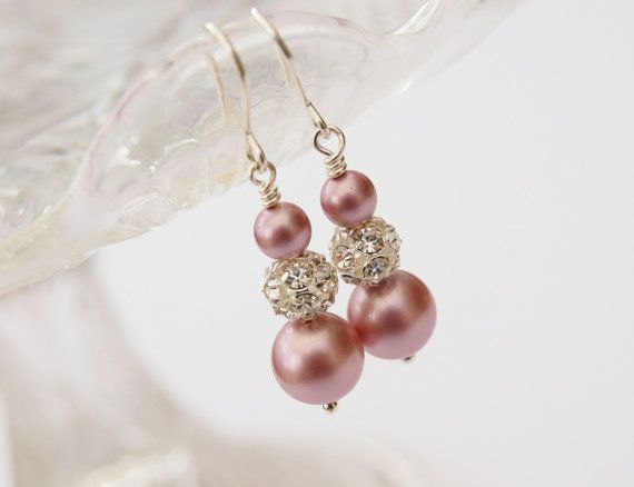 Ella Pastel Pink Pearl Earrings Wedding by jewellerymadebyme, £20.00