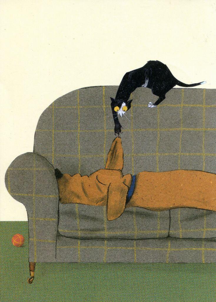 gato y perro, ilustración de Wolf Erlbruch