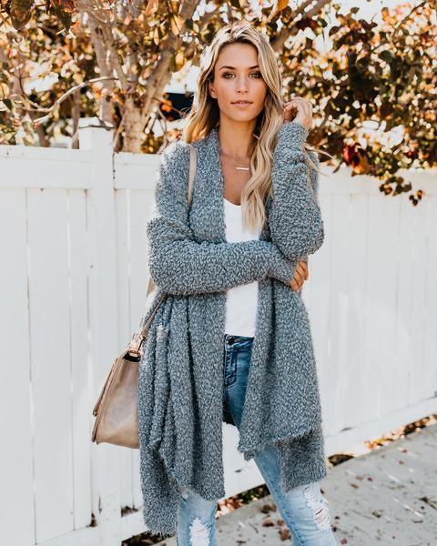 e1807a691f Fuzzy Wuzzy Pocketed Knit Cardigan - Heather Grey