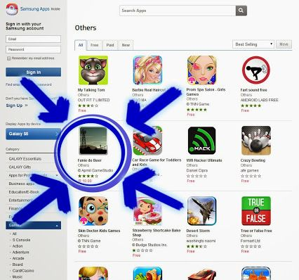 'Fanie de Beer' is at number 5 on the Samsung Apps 'others' game category. :)