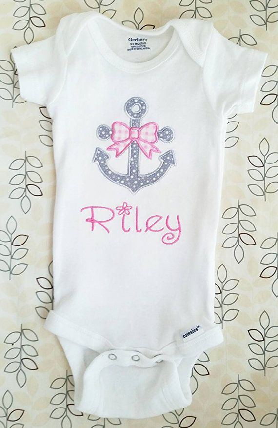 Baby girl personalized anchor onesie...Nautical baby shower or photo prop idea!
