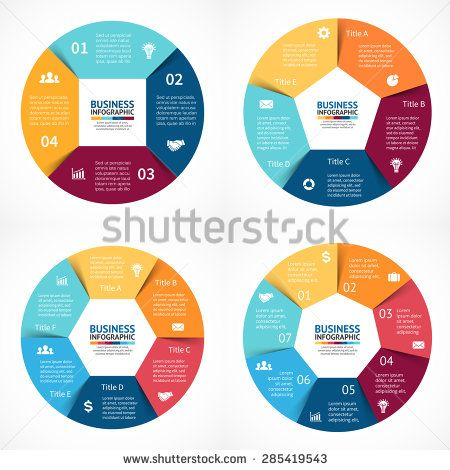 Vector circle infographics set. Template for cycle diagram, graph, presentation and round chart. Business concept with 3, 4, 5, 6  options, parts, steps or processes. Abstract background. Infochart.  - stock vector
