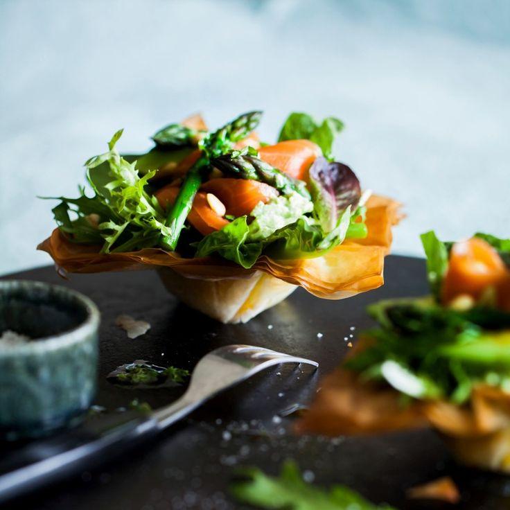 Smoked Salmon, Asparagus and Avocado Filo Baskets By Nadia Lim