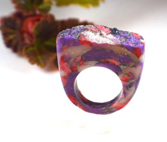 Mod Ring Retro Ring Marbled Ring Faux Stone Ring Clay