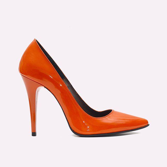 pantofi cu toc portocalii