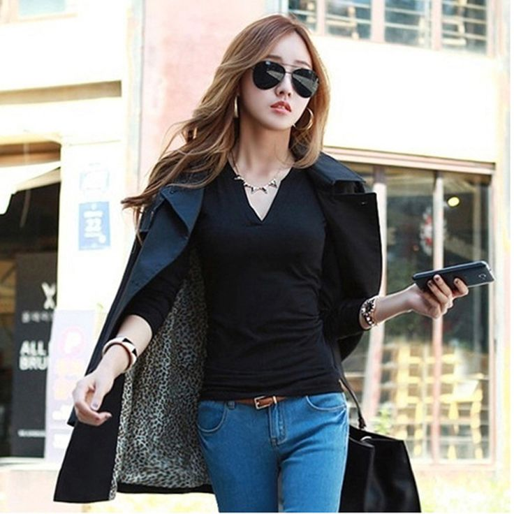 b43c268f9eeb 2017 Blusas Femininas solid 14 colors V-Neck Women Blouses Sexy slim fit  Knitted Clothes