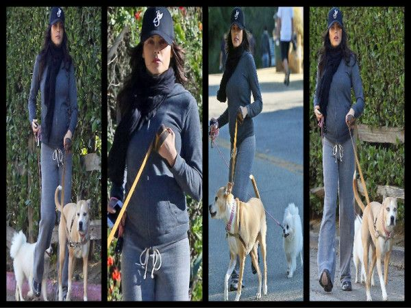 Jenna Dewan-Tatum on a hike with Lulu and Meeka through Runyon Canyon. Man, is she tiny for being pregnant.