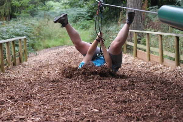 Possibly the BEST woodchip landing we've ever seen! #goape #woodchip #woodchippants