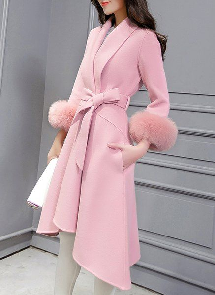 Stylish Shawl Neck Long Sleeve Faux Fur Design Asymmetrical Coat For Women