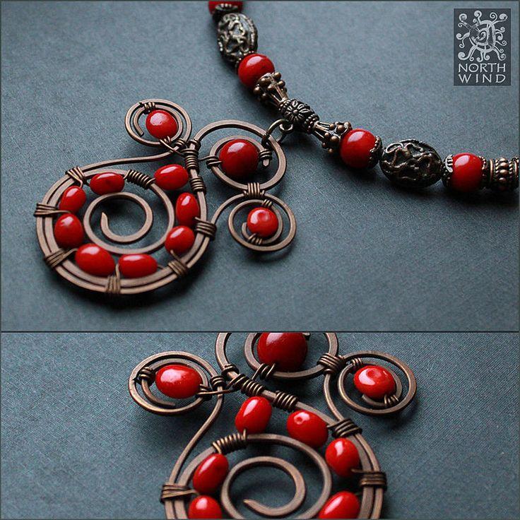 Купить Ожерелье Чаша Огня - ярко-красный, ожерелье, солнце, красное ожерелье, колье из бисера