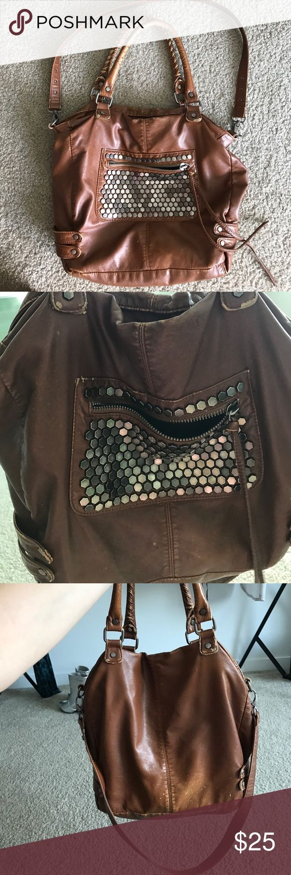 Pins and needles urban outfitters purse Coin detailed brown pins and needles purse from urban outfitters. Large bag holds a lot, some slight spotting (natural looking wear and tear) otherwise great condition. Sturdy bag Urban Outfitters Bags Totes