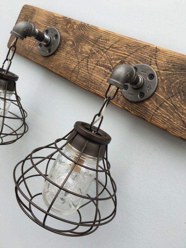 2 Mason Jar Vanity Light Fixture With Shade Lovely Diy Rustic