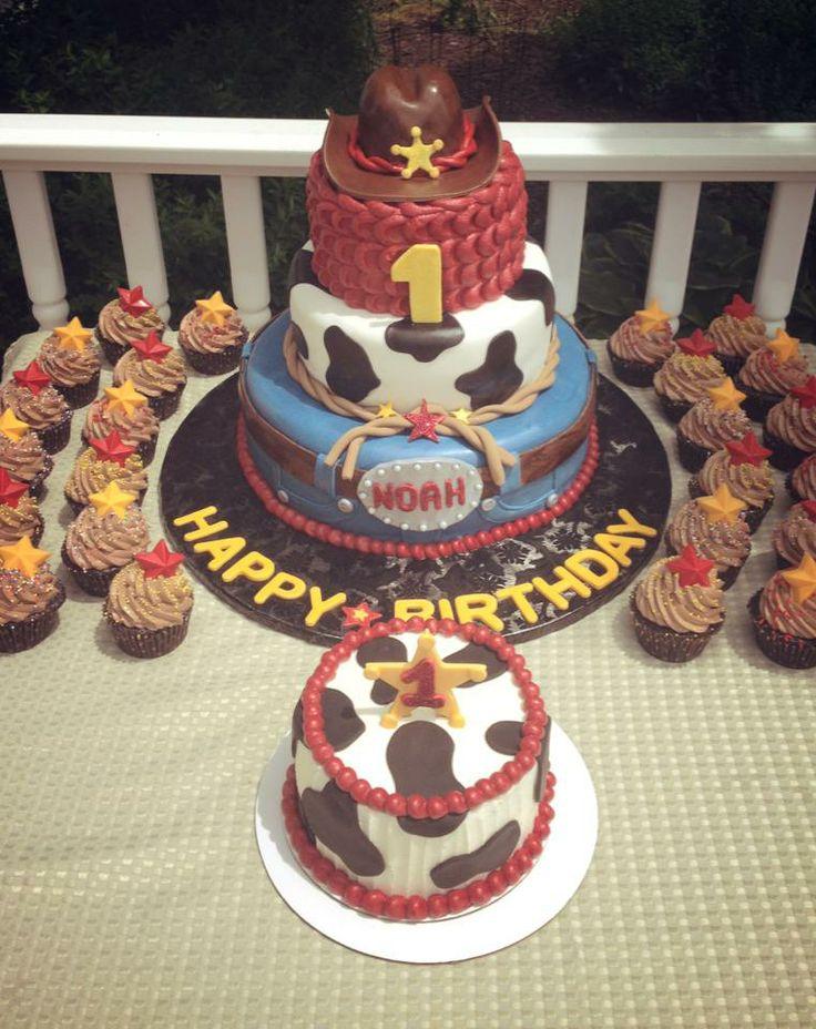 Cowboy 1st birthday cake and smash cake