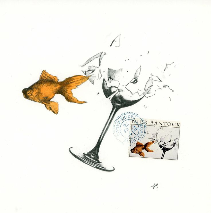'Fish and the wine glass'. Original preliminary artwork by Nick Bantock for his book 'Griffin and Sabine'.